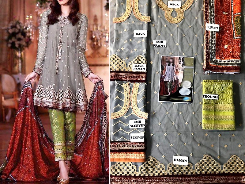 Embroidered Net Party Dress with Jamawar Trouser