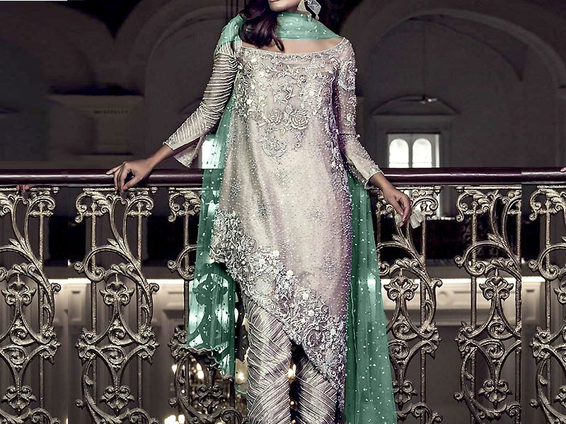 Embroidered Net Wedding Dress with Silk Trouser
