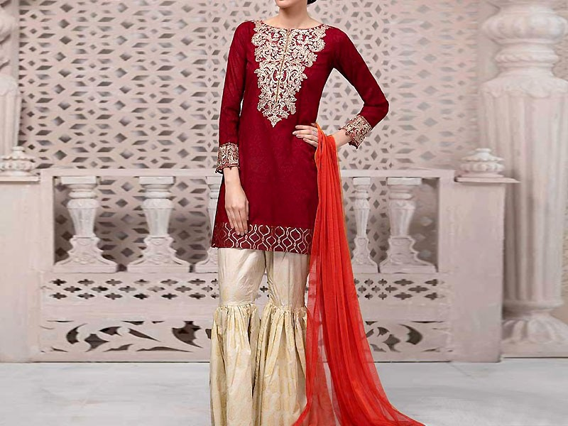 Embroidered Linen Dress with Shawl Dupatta