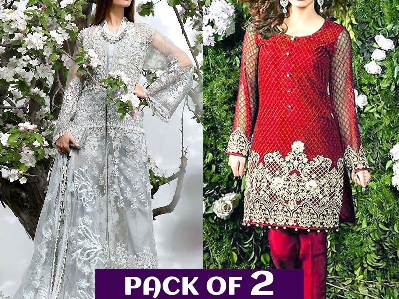 Pack of 2 Unstitched Embroidered Net Dress & Chiffon Kurti Price in Pakistan