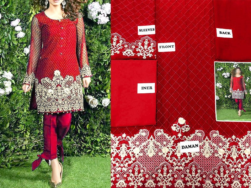 Pack of 2 Unstitched Embroidered Net Dress & Chiffon Kurti