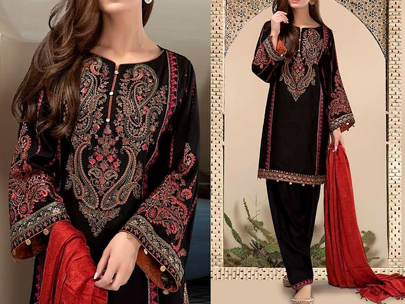 Embroidered Linen Suit with Wool Shawl Dupatta Price in Pakistan