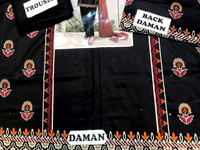 Embroidered Black Linen Suit with Shawl Dupatta