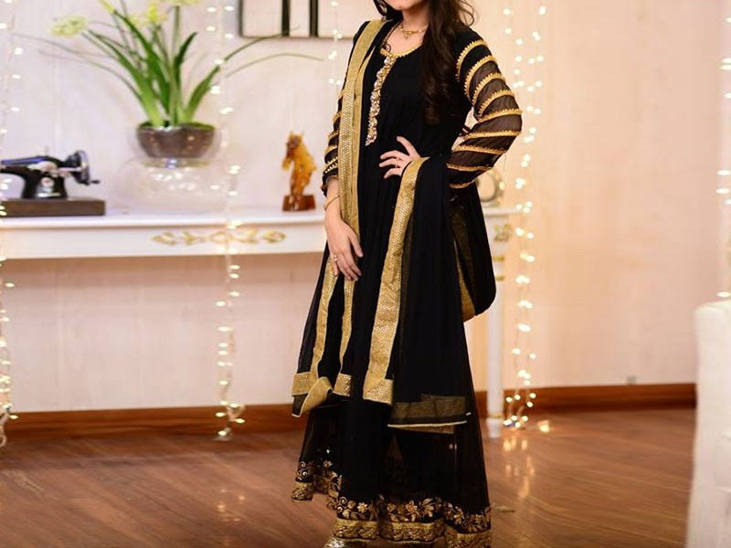 Embroidered Black Chiffon Maxi Dress Price in Pakistan