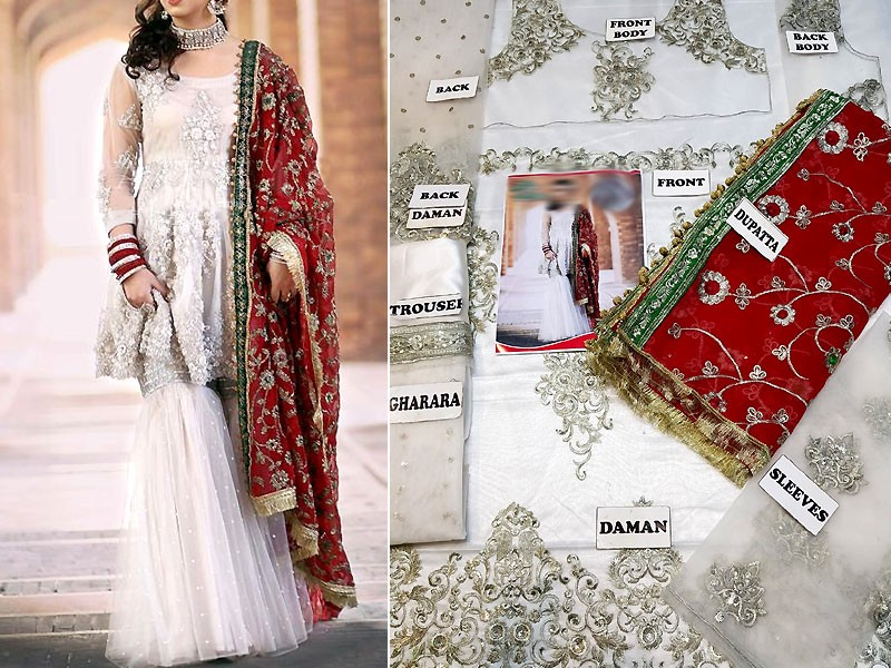Embroidered White Net Dress with Chiffon Dupatta