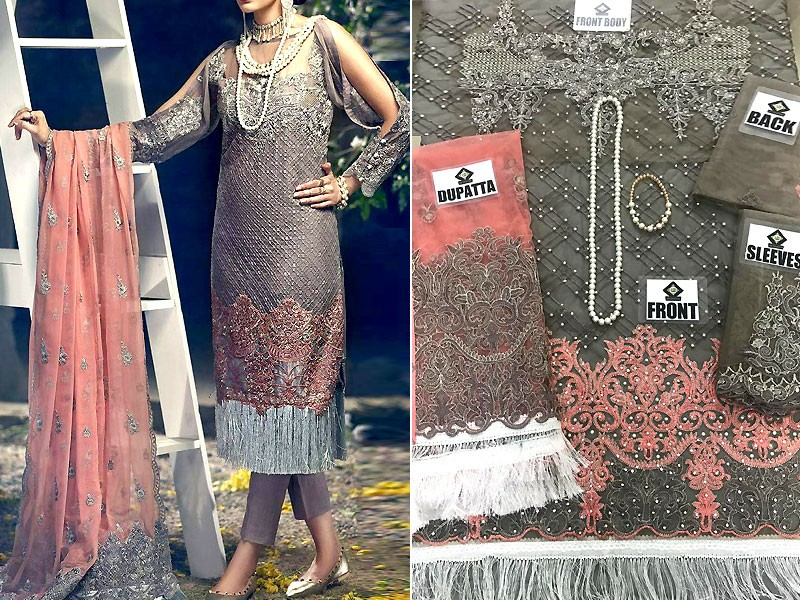 Handwork Embroidered Net Dress with Pearls Mala