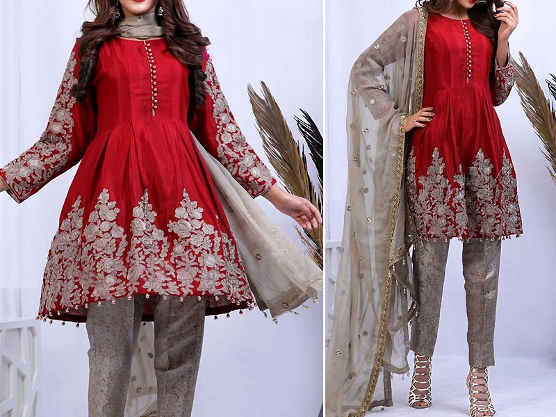 Embroidered Red Chiffon Dress with Net Dupatta Price in