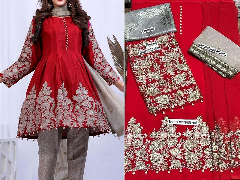 Embroidered Red Chiffon Dress with Net Dupatta