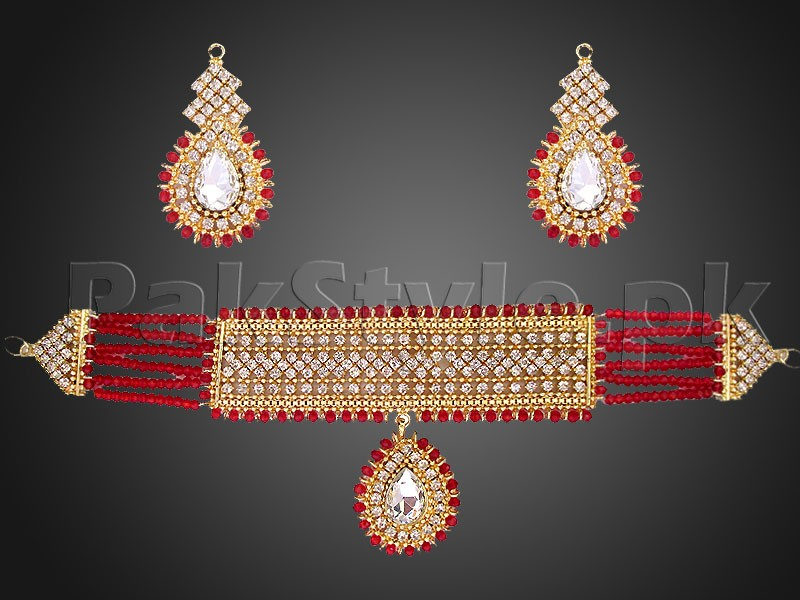 Red Stones Golden Choker Jewelry Set