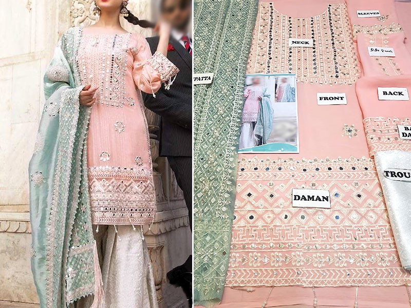 Embroidered Pink Chiffon Wedding Dress Price in Pakistan
