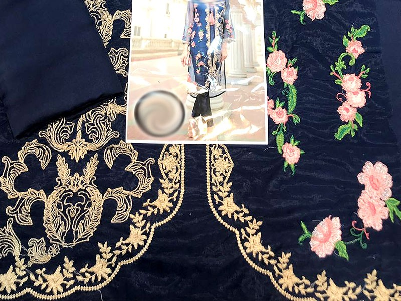 Navy Blue Embroidered Net Kurti with Inner