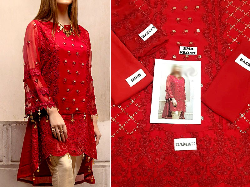Embroidered Red Chiffon Kurti with Inner