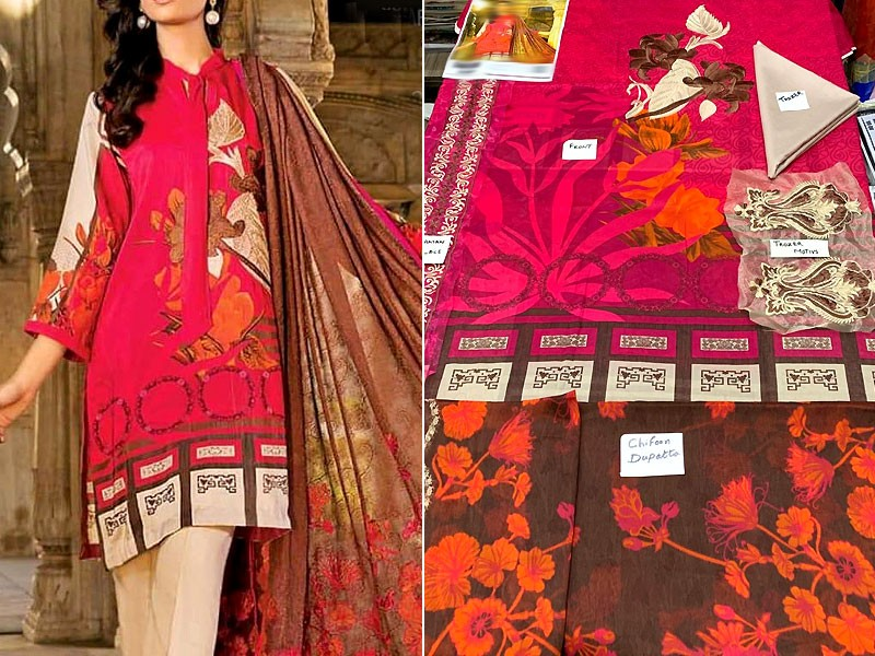 Embroidered Pink Lawn Dress with Chiffon Dupatta
