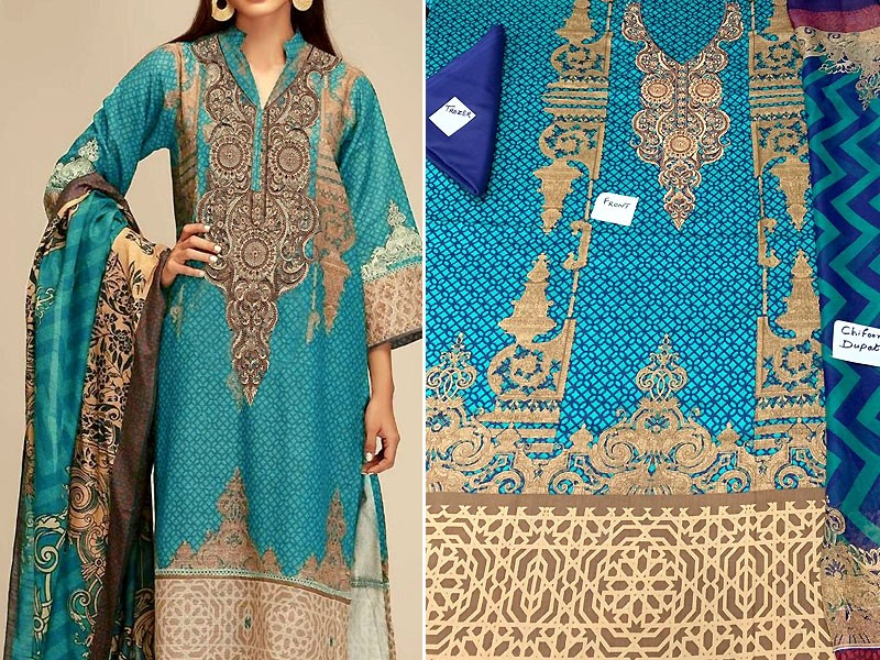 Embroidered Sea Green Lawn Dress with Chiffon Dupatta