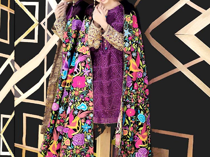 Heavy Embroidered Lawn Dress with Phulkari Dupatta Price in Pakistan
