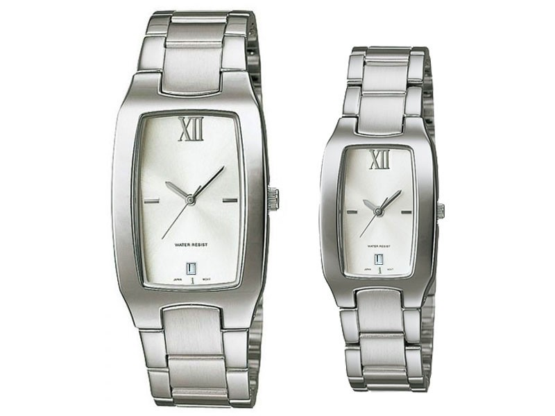 Elegant Silver Couple Watches - While Dial