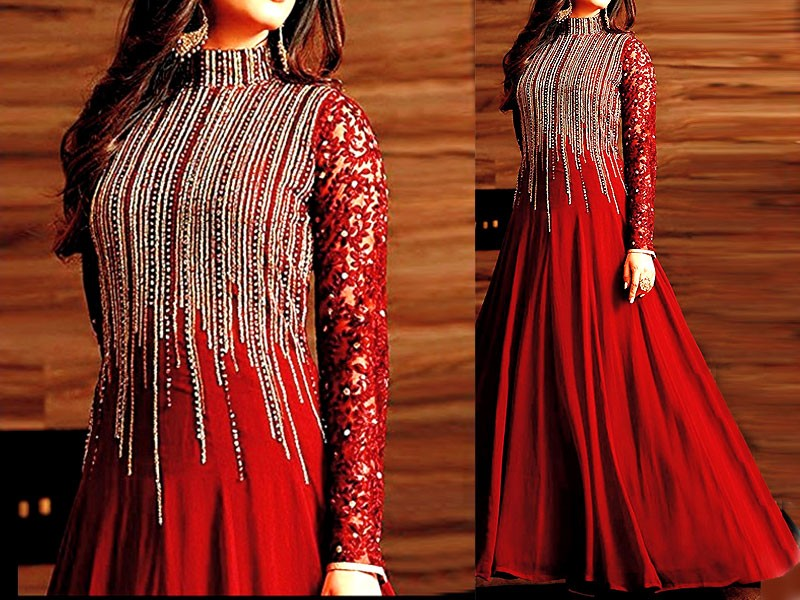 Indian Embroidered Red Chiffon Maxi