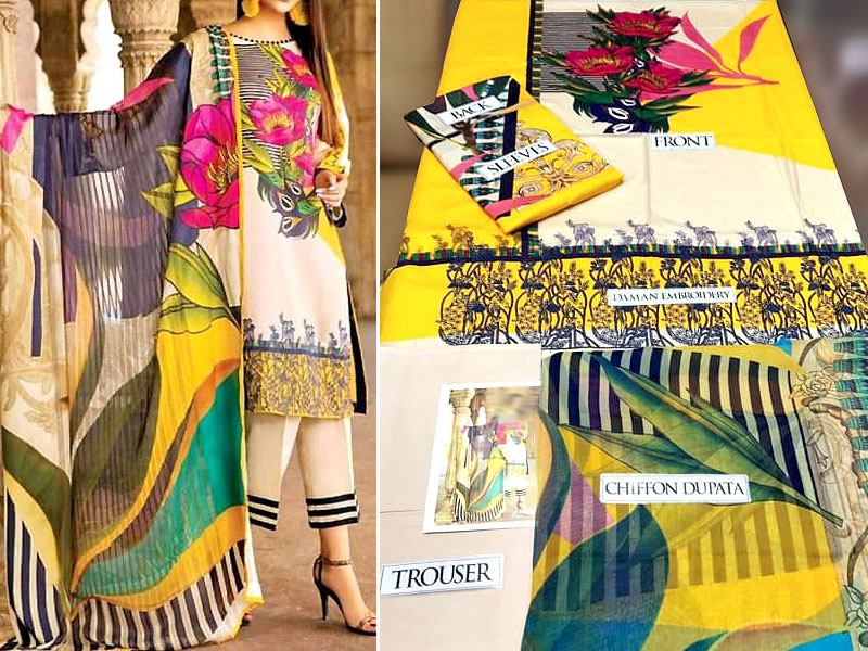 Vibrant Embroidered Lawn Dress with Chiffon Dupatta