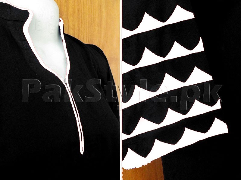 Black Applique Work Ready-to-Wear Cotton Kurti