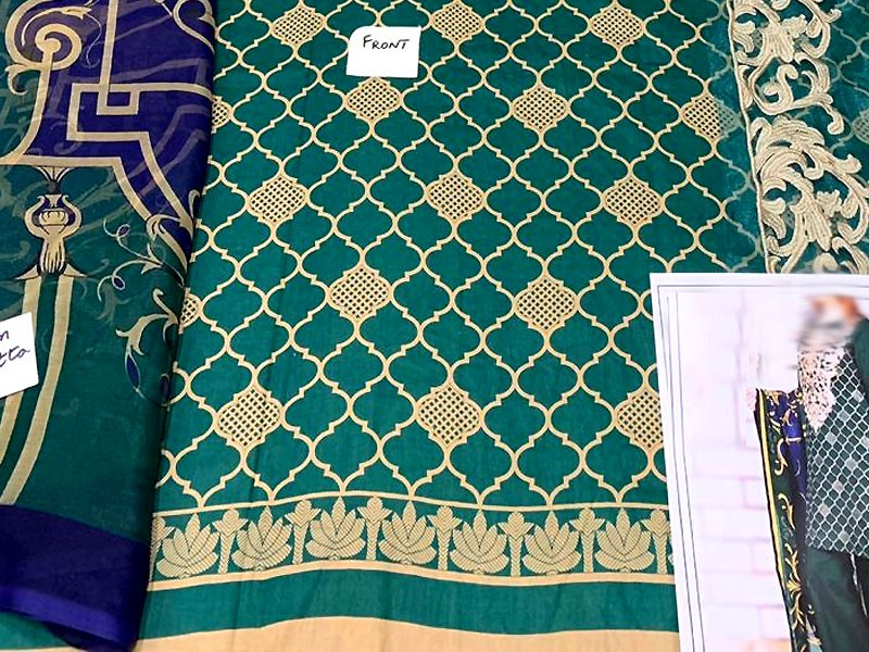 Embroidered Green Lawn Suit with Chiffon Dupatta