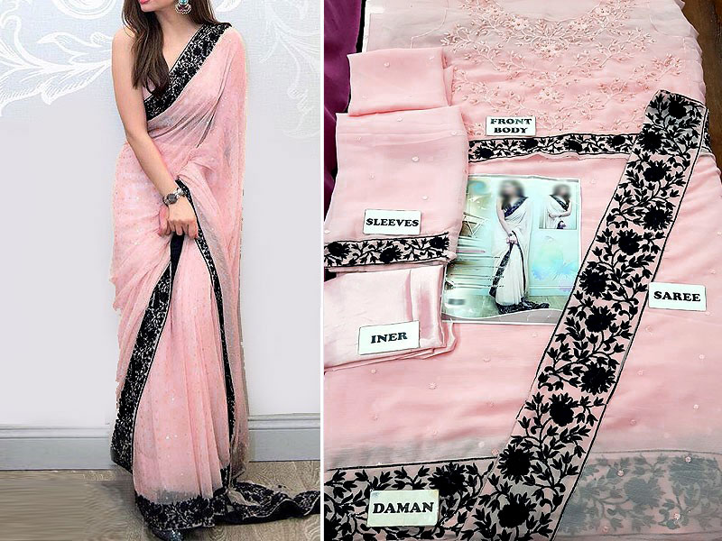 Embroidered Chiffon Saree with Inner