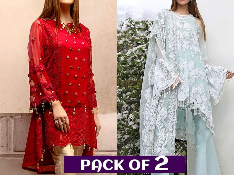 Pack of 2 Embroidered Chiffon Kurti & Net Dress