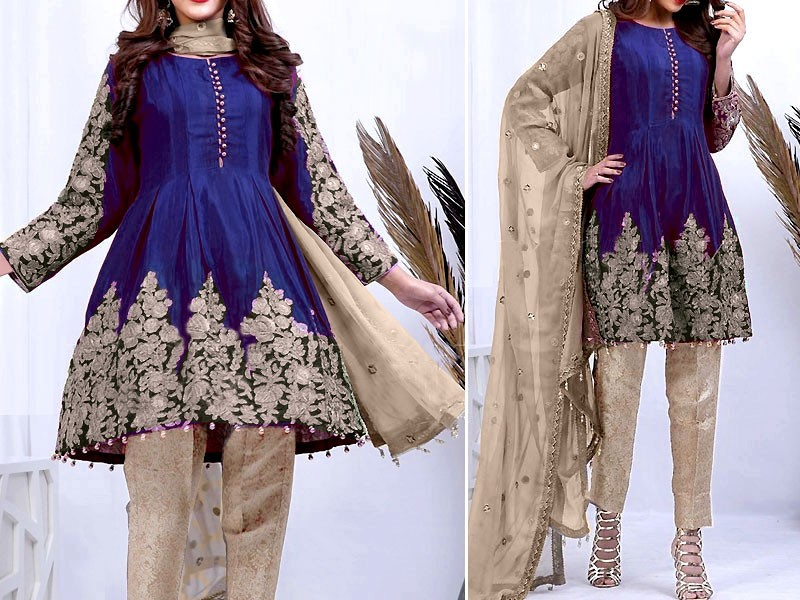 Heavy Dori Embroidery Work Net Dress with Silk Trouser Price in Pakistan