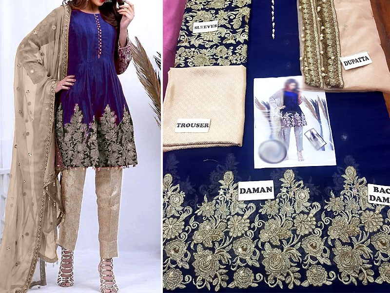 Embroidered Blue Chiffon Suit with Net Dupatta