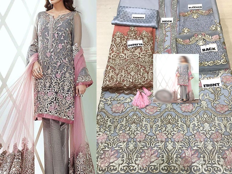 Embroidered Net Dress with Jamawar Trouser