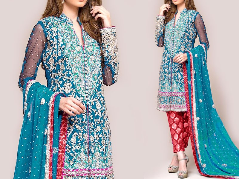 Embroidered Chiffon Bridal Dress with Jamawar Trouser