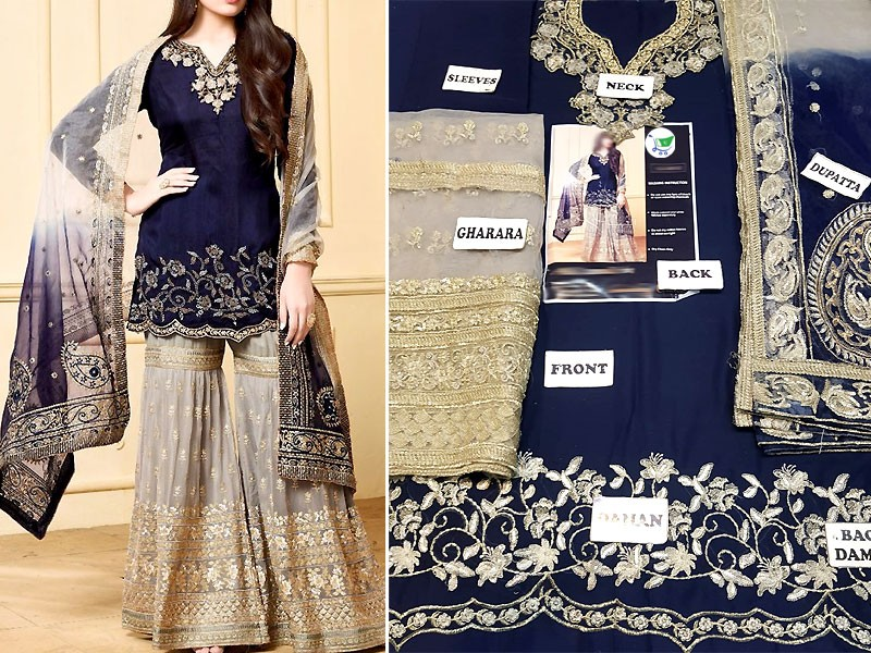 Heavy Embroidered Chiffon Suit with Net Dupatta