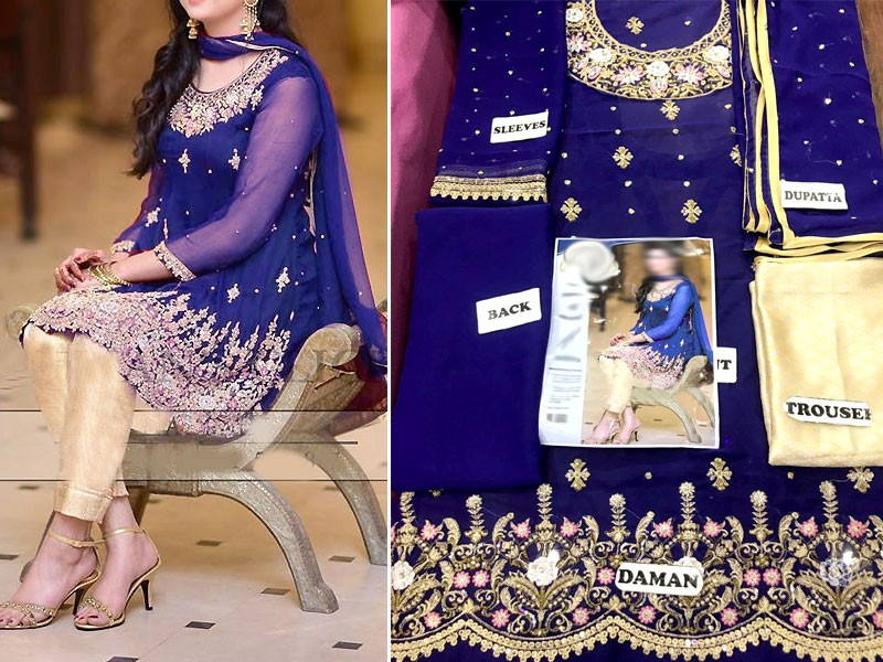 Royal Blue Embroidered Chiffon Dress with Jamawar Trouser