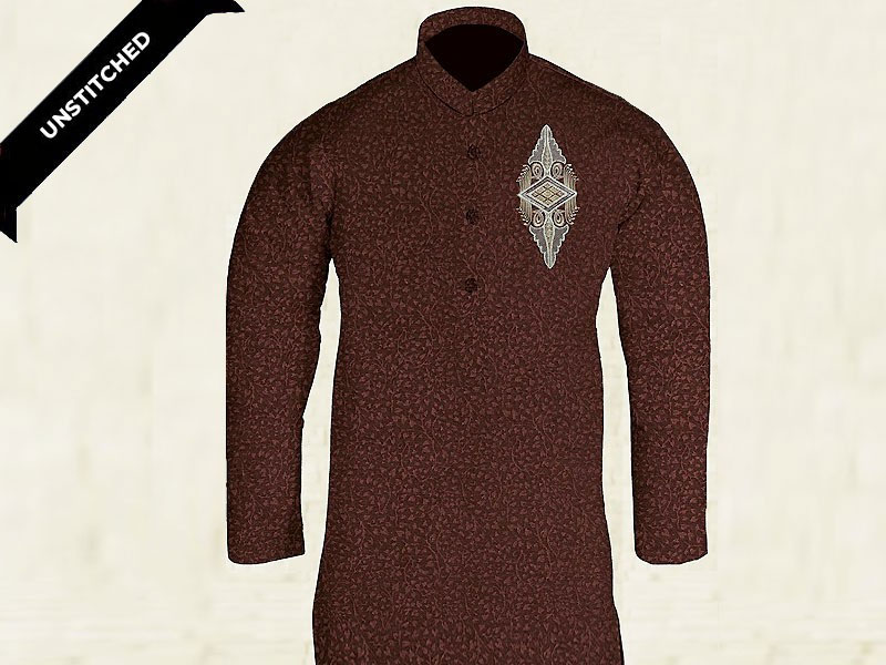 Un-Stitched Embroidered Mens Kurta
