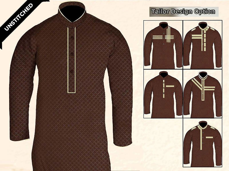 Un-Stitched Printed Mens Kurta - Brown Price in Pakistan