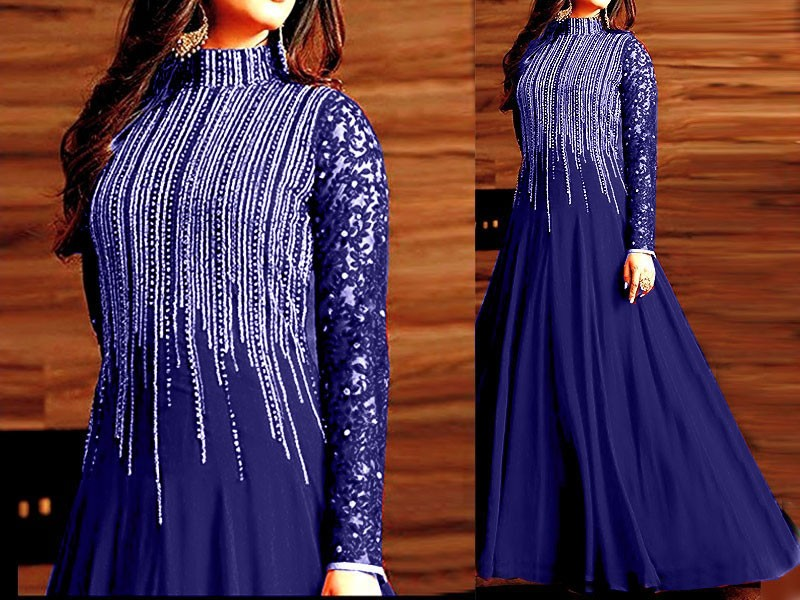 Indian Embroidered Blue Chiffon Maxi Price in Pakistan