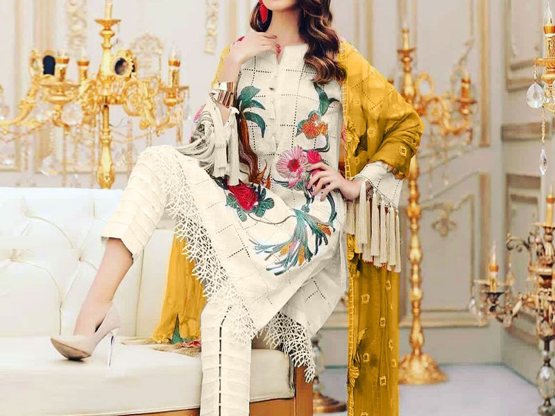 Luxury Embroidered Chikankari Lawn Dress with Chiffon Dupatta
