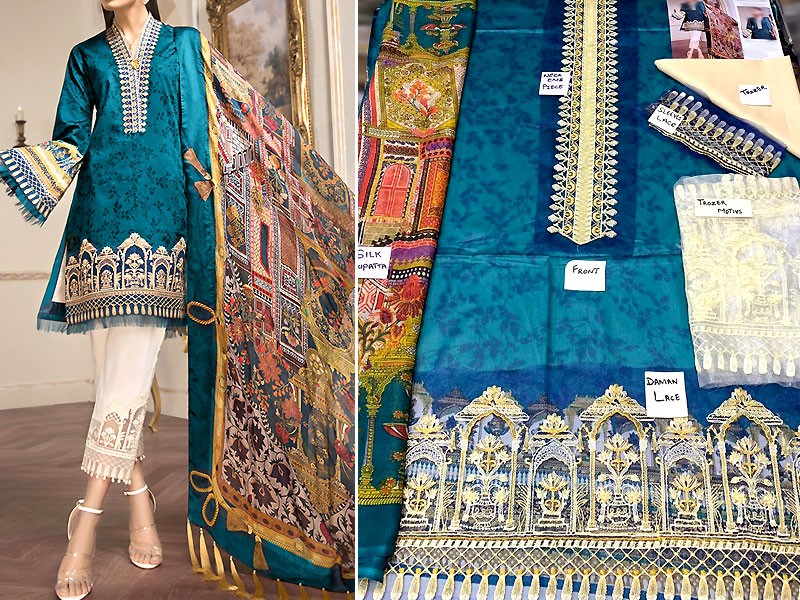 Luxury Embroidered Lawn Dress with Silk Dupatta