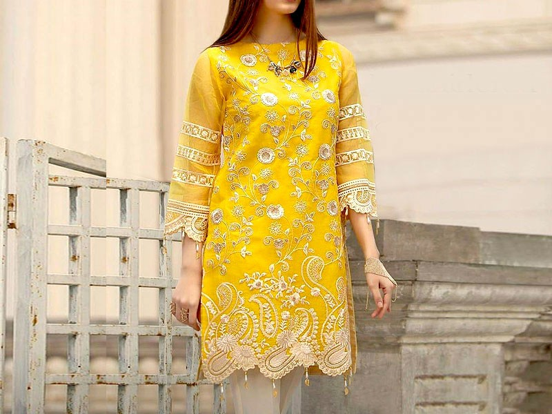 Unstitched Embroidered Yellow Chiffon Kurti with Inner