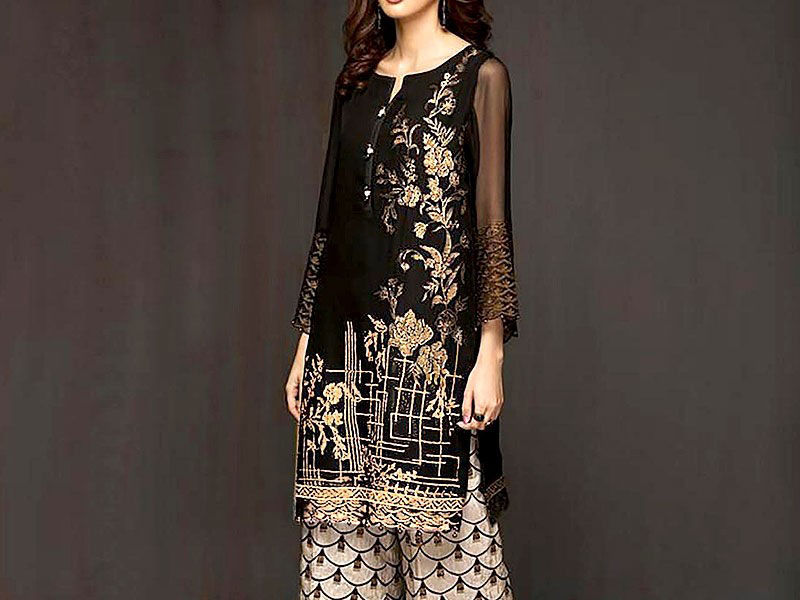 Trendy Embroidered Lawn Dress with Chiffon Dupatta