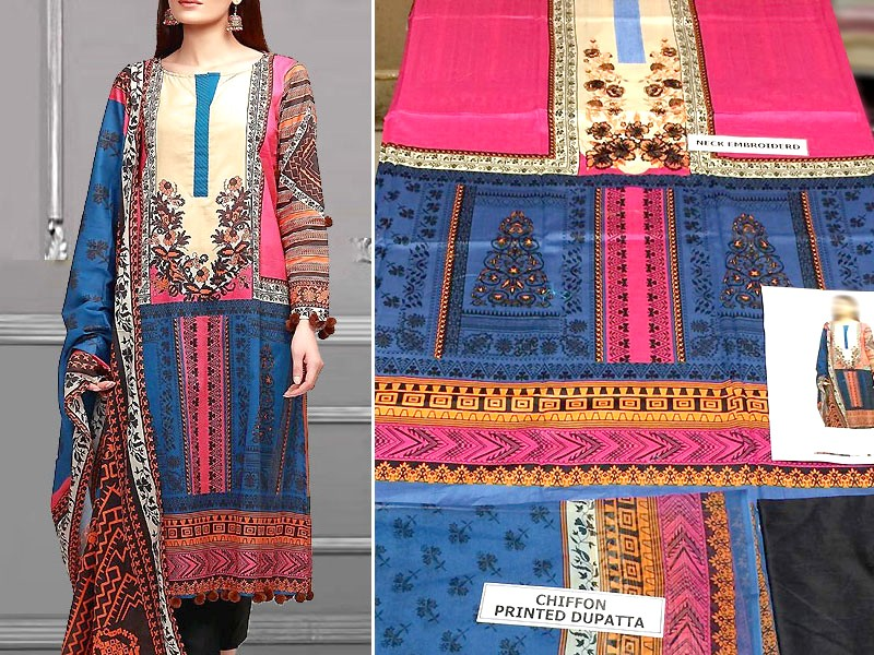 Embroidered Blue Lawn Dress with Chiffon Dupatta
