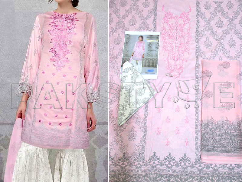 Embroidered Pink Lawn Suit with Chiffon Dupatta