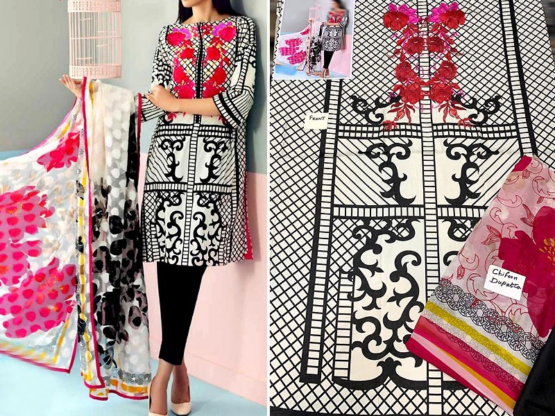 Embroidered Lawn Dress with Printed Chiffon Dupatta