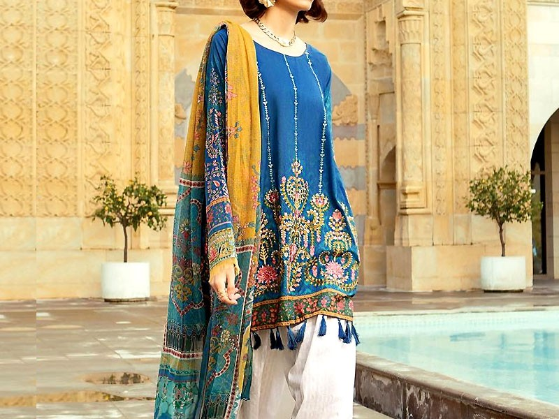 Trendy Embroidered Blue Lawn Dress with Chiffon Dupatta