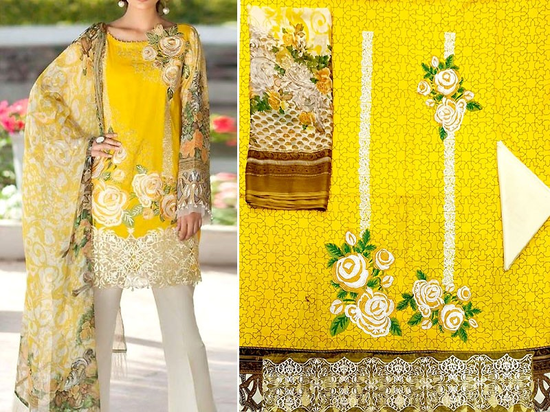 Elegant Embroidered Yellow Lawn Dress with Chiffon Dupatta