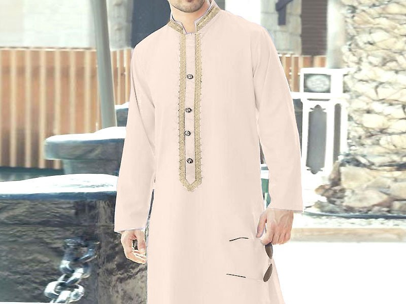 Un-Stitched Embroidered Mens Shalwar Kameez