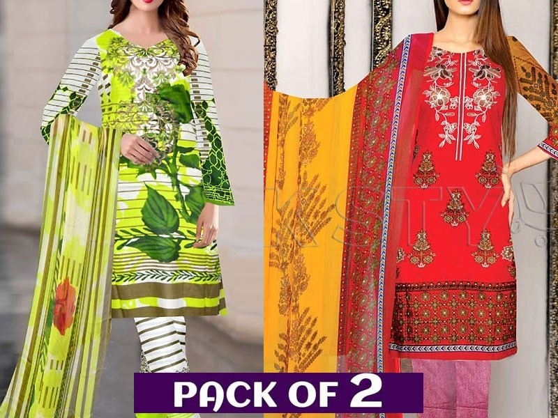 Pack of 2 Embroidered Lawn Suits with Chiffon Dupatta