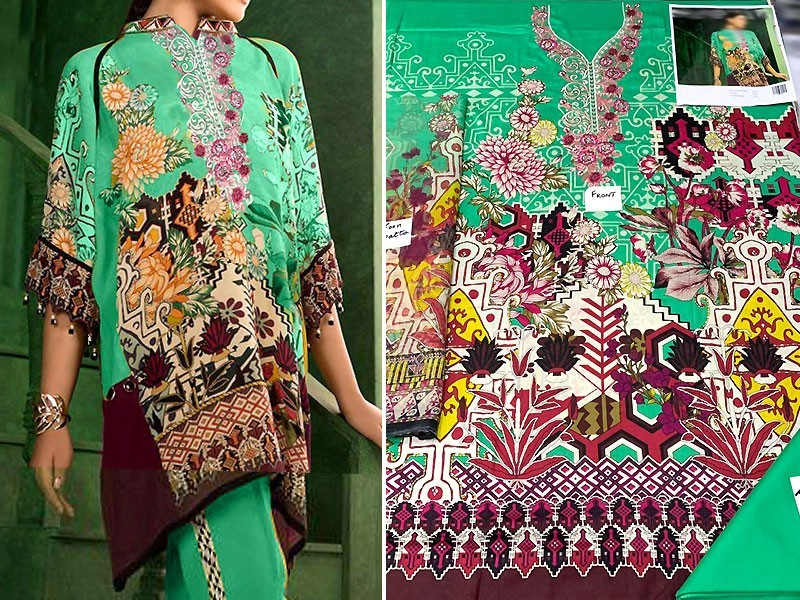 Pack of 2 Embroidered Lawn Dresses with Chiffon Dupatta