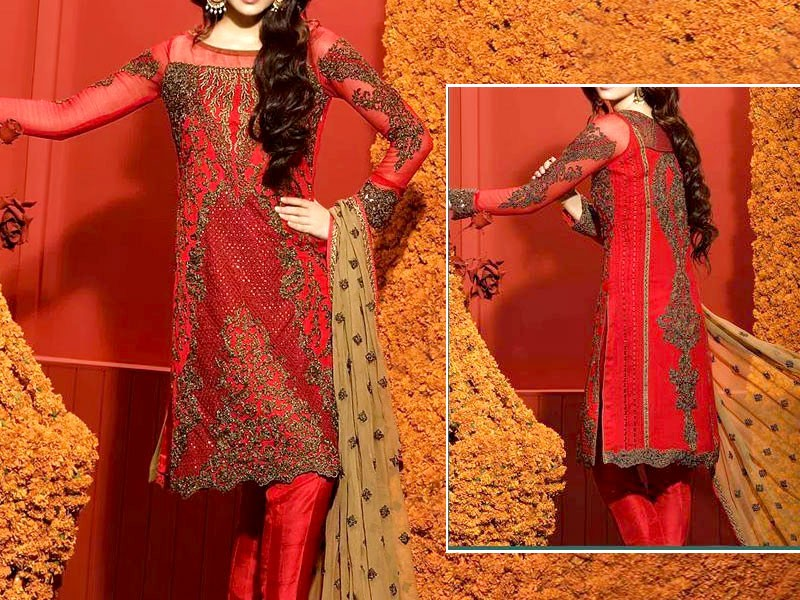 Heavy Dori Work Embroidered  Red Chiffon Wedding Dress