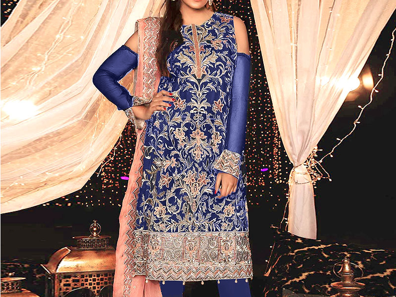 Heavy Embroidered Navy Blue Chiffon Wedding Dress Price in Pakistan