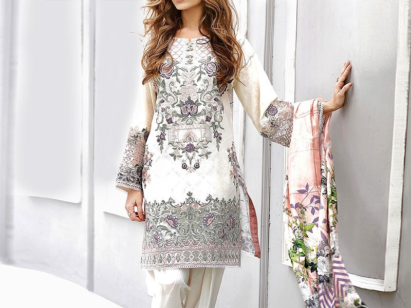 Heavy Embroidered White Lawn Dress with Chiffon Dupatta